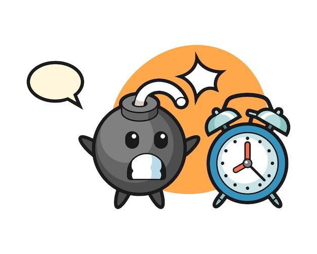 Ilustración de dibujos animados de bomba se sorprende con un despertador gigante