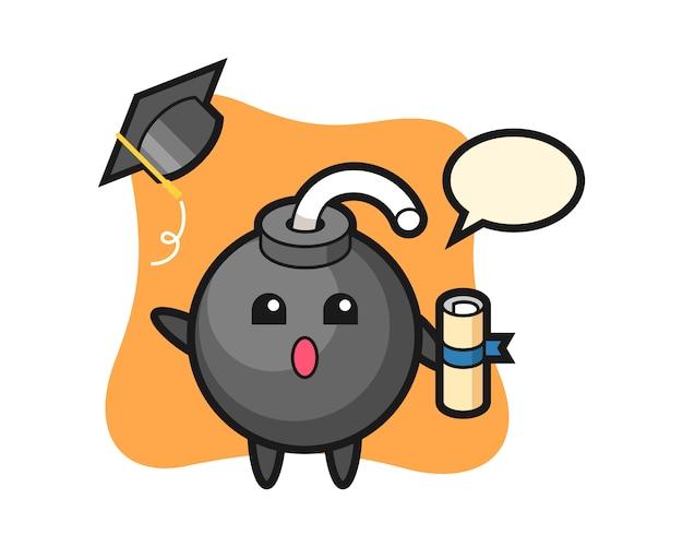 Ilustración de dibujos animados de bombas lanzando el sombrero en la graduación