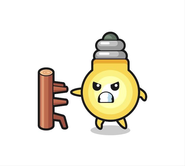 Ilustración de dibujos animados de bombilla como un luchador de karate, diseño de estilo lindo para camiseta, pegatina, elemento de logotipo