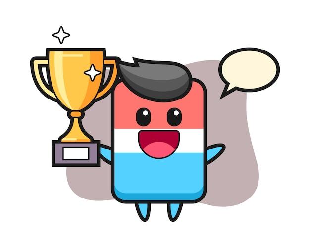 La ilustración de dibujos animados del borrador es feliz sosteniendo el trofeo dorado, estilo lindo, etiqueta engomada, elemento del logotipo