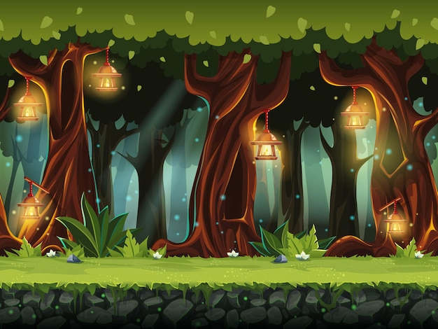 Ilustración de dibujos animados del bosque de hadas para la interfaz de usuario del juego. .