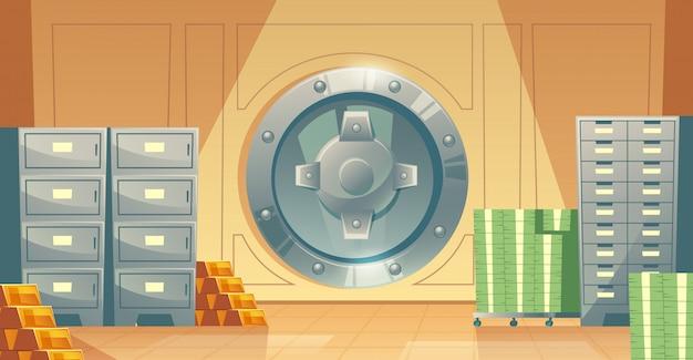 Ilustración de dibujos animados de la bóveda del banco en el interior, puerta segura de hierro metálico.