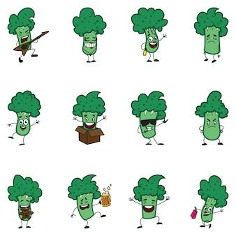 Ilustración de dibujos animados de brócoli conjunto