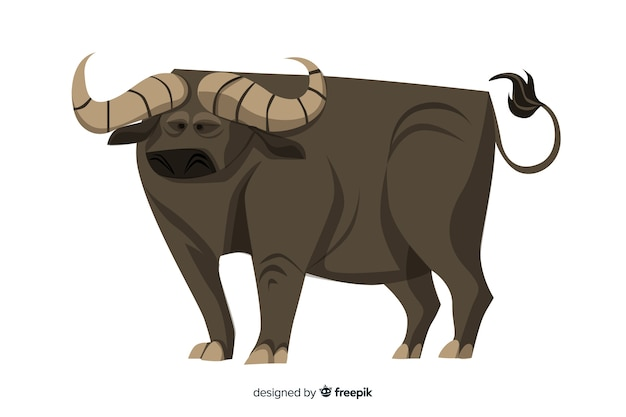 Ilustración de dibujos animados de búfalo masivo