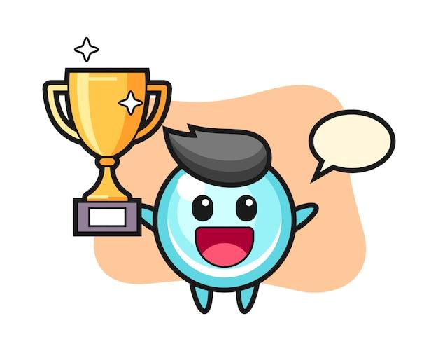 Ilustración de dibujos animados de burbuja es feliz sosteniendo el trofeo dorado, diseño de estilo lindo