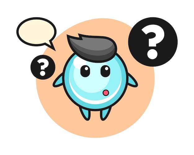 Ilustración de dibujos animados de burbuja con el signo de interrogación, diseño de estilo lindo