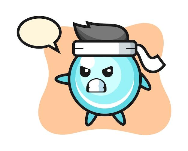 Ilustración de dibujos animados de burbujas como luchador de karate, diseño de estilo lindo