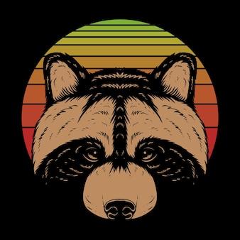 Ilustración de dibujos animados de cabeza de mapache sobre fondo negro y colorido