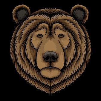 Ilustración de dibujos animados de cabeza de oso sobre fondo negro