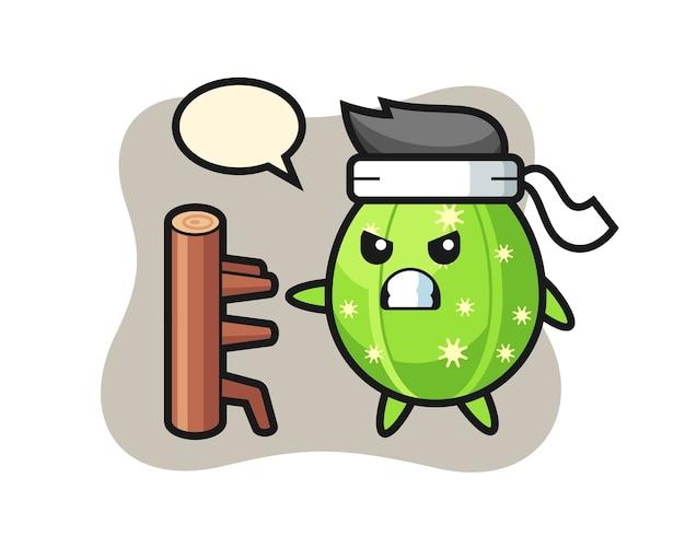Ilustración de dibujos animados de cactus como un luchador de karate