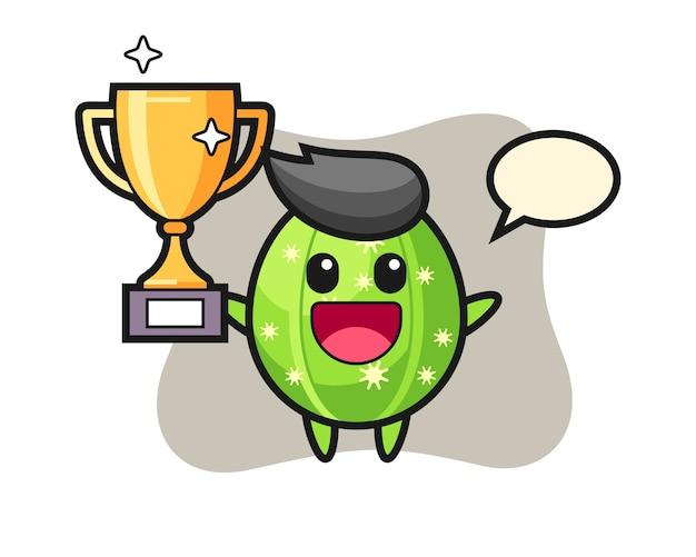 Ilustración de dibujos animados de cactus es feliz sosteniendo el trofeo de oro