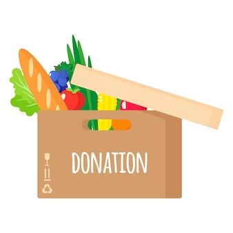 Ilustración de dibujos animados de caja de cartón de donación con alimentos orgánicos saludables aislado sobre fondo blanco.
