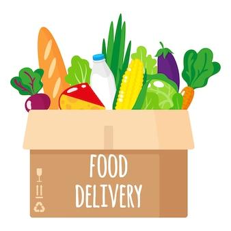 Ilustración de dibujos animados de caja de cartón entregada con alimentos orgánicos saludables aislado sobre fondo blanco.