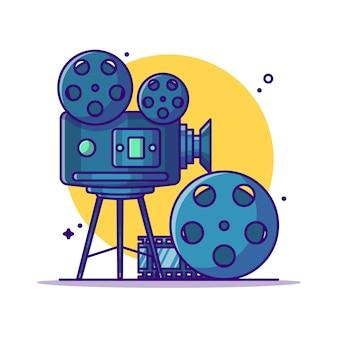 Ilustración de dibujos animados de cámara y rollo de película. concepto de icono de cine blanco aislado. estilo de dibujos animados plana