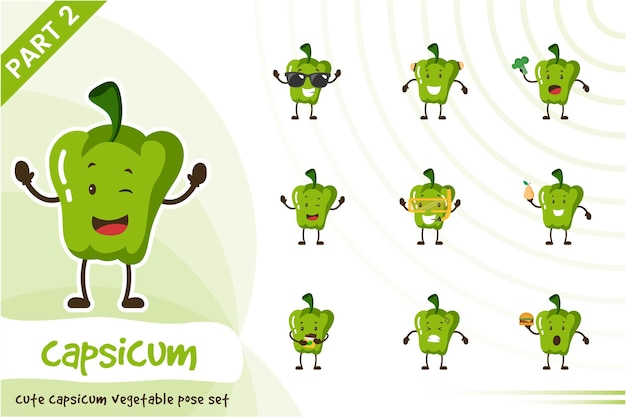 Ilustración de dibujos animados de capsicum vegetable set