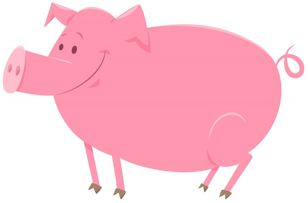 Ilustración de dibujos animados de carácter animal de cerdo