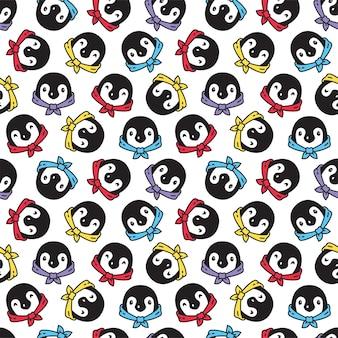 Ilustración de dibujos animados de carácter de pajarita de pájaro de patrones sin fisuras de pingüino