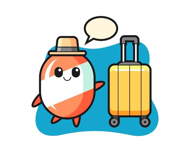 Ilustración de dibujos animados de caramelo con equipaje de vacaciones