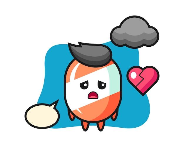 Ilustración de dibujos animados de caramelo es corazón roto