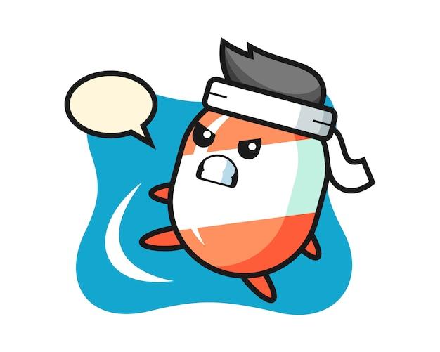 Ilustración de dibujos animados de caramelo haciendo una patada de karate