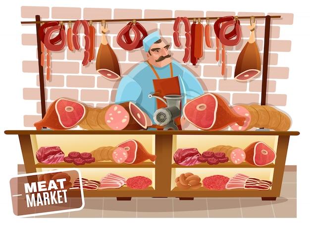 Ilustración de dibujos animados de carnicero