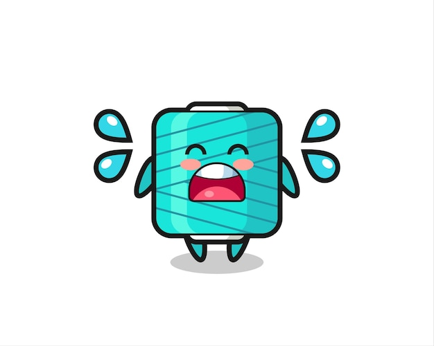 Ilustración de dibujos animados de carrete de hilo con gesto de llanto, diseño de estilo lindo para camiseta, pegatina, elemento de logotipo