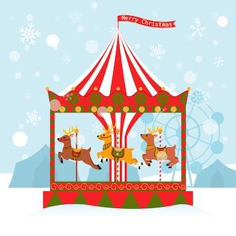 Ilustración de dibujos animados de carrusel de renos de tarjeta de navidad