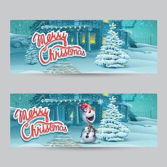 Ilustración de dibujos animados casarse con pancartas navideñas