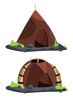 Ilustración de dibujos animados de casas de estilo de la edad de piedra
