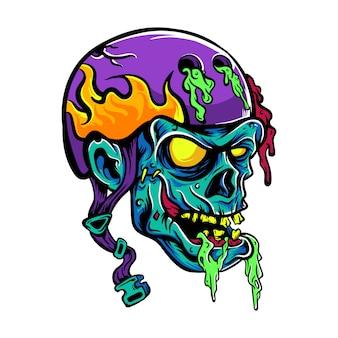 Ilustración de dibujos animados de casco desgaste del cráneo