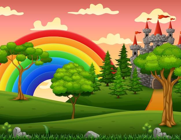 Ilustración de dibujos animados del castillo de cuento en el paisaje de la colina