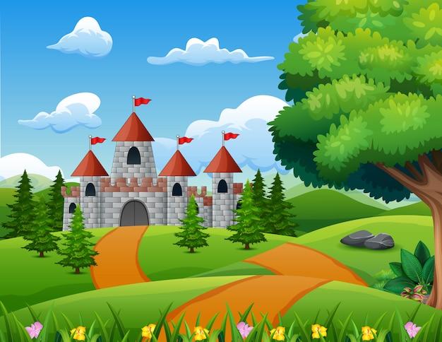 Ilustración de dibujos animados del castillo en el paisaje de la colina