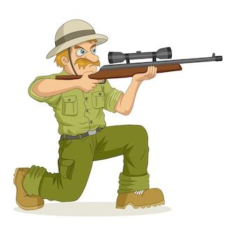 Ilustración de dibujos animados de un cazador con el objetivo de un rifle