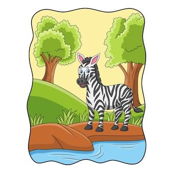 Ilustración de dibujos animados cebra está caminando forrajeando junto al río