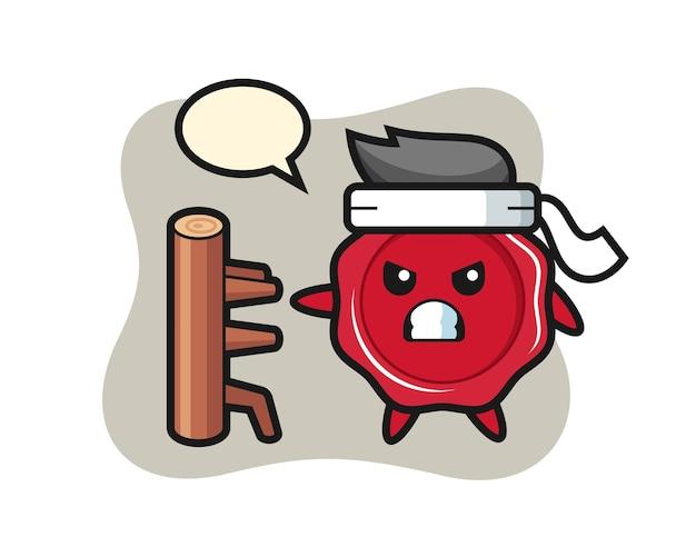 Ilustración de dibujos animados de cera de sellado como un luchador de karate