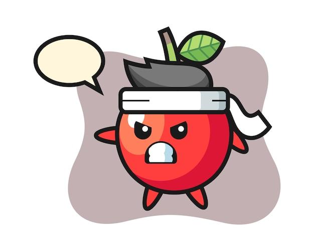 Ilustración de dibujos animados de cereza como luchador de karate, diseño de estilo lindo