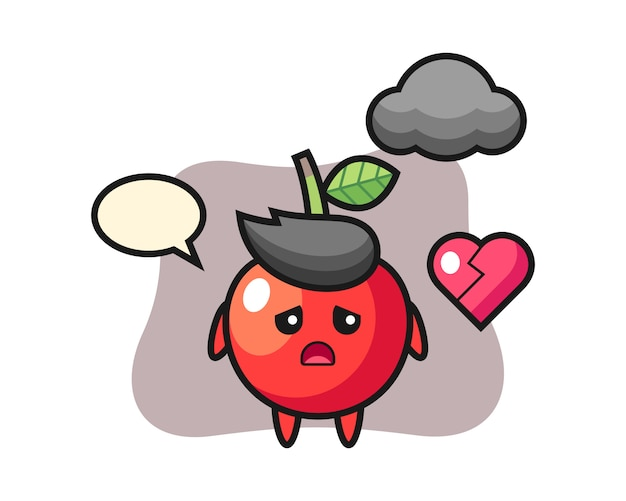 Ilustración de dibujos animados de cereza es corazón roto, diseño de estilo lindo