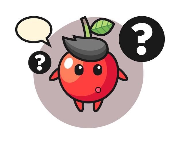 Ilustración de dibujos animados de cereza con el signo de interrogación, diseño de estilo lindo