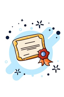 Una ilustración de dibujos animados de certificado de premio