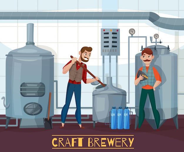 Ilustración de dibujos animados de cervecería artesanal