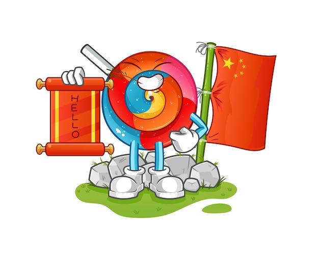 Ilustración de dibujos animados chino piruleta