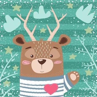Ilustración de dibujos animados de ciervos.