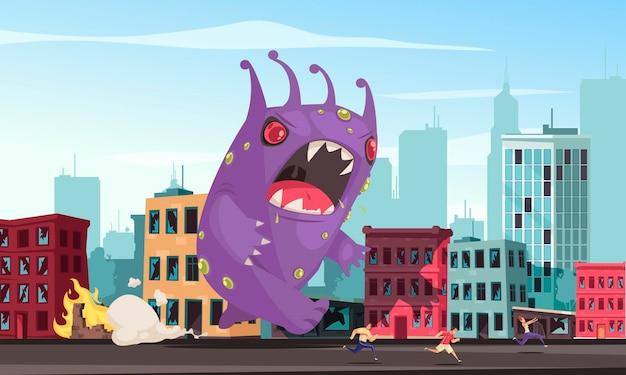 Ilustración de dibujos animados de ciudad atacando monstruo púrpura