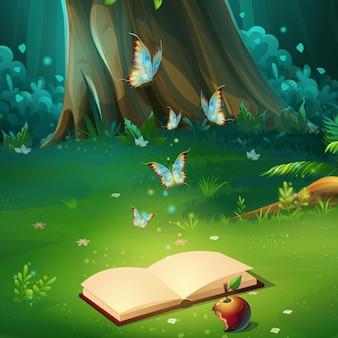 Ilustración de dibujos animados del claro del bosque de fondo con el libro. madera brillante con liebres, mariposas, libro, manzana.
