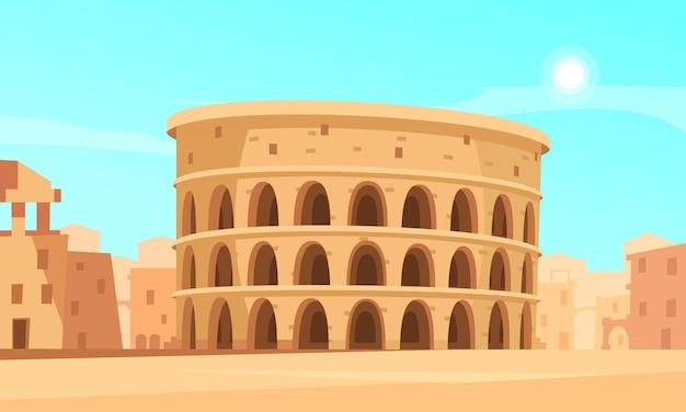 Ilustración de dibujos animados con el coliseo de roma y edificios antiguos