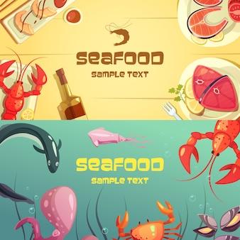 Ilustración de dibujos animados coloridos mariscos banners