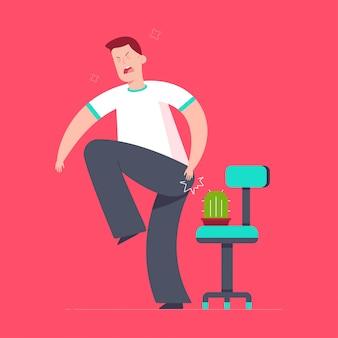 Ilustración de dibujos animados de concepto de vector de hemorroides con hombre, silla de oficina y cactus.