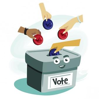 Ilustración de dibujos animados concepto de voto