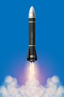 Ilustración de dibujos animados conjunto aislado de lanzamiento de cohete. cohetes de misión espacial con humo. ilustración en estilo 3d