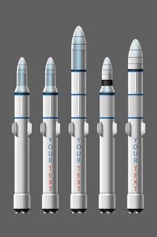 Ilustración de dibujos animados conjunto aislado de lanzamiento de cohete. cohetes de misión espacial con humo. ilustración en estilo plano